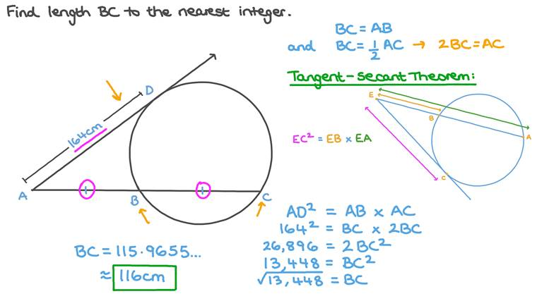 Finding the Length of a Tangent to a Circle Using the Application of Similarity in Circles