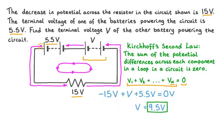 Utiliser la deuxième loi de Kirchhoff pour calculer la différence de potentiel dans un circuit en série