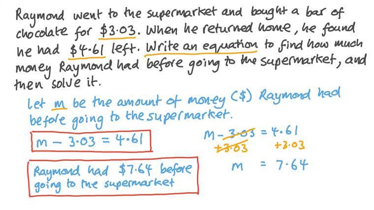 Résoudre des équations à une inconnue intégrées dans un contexte réel