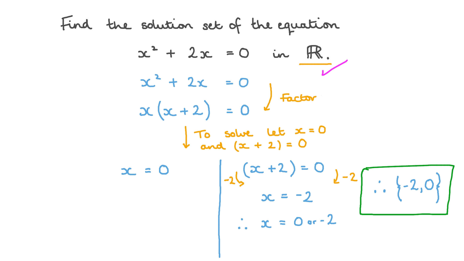 Question Video Finding The Solution Set Of A Quadratic Equation