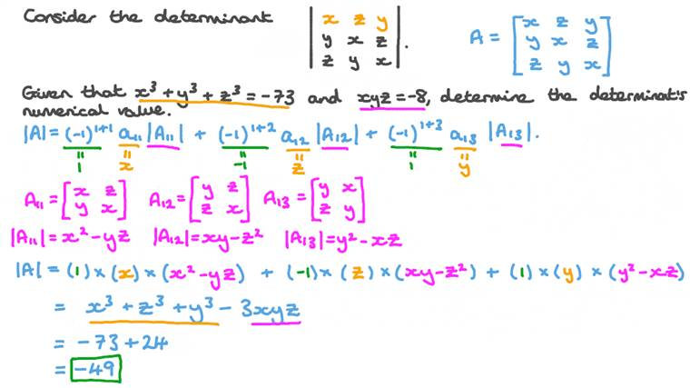Determining the Three-by-Three Determinants' Numerical Value