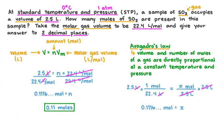 Calcul du nombre de moles d'un gaz présent, compte tenu du volume à CNTP