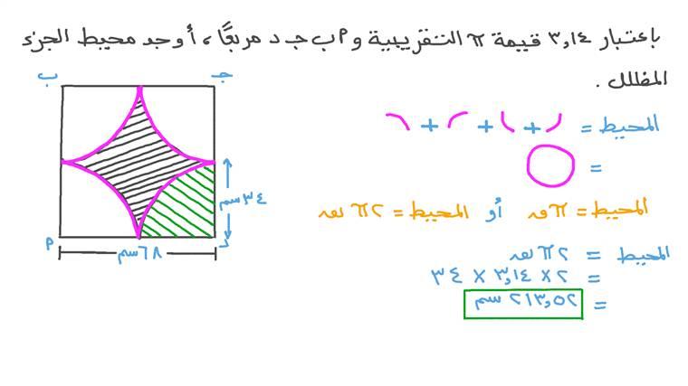 حساب محيط جزء مظلل في مربع