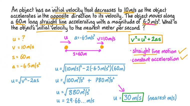Déterminer le vecteur vitesse initial d'un objet en accélération