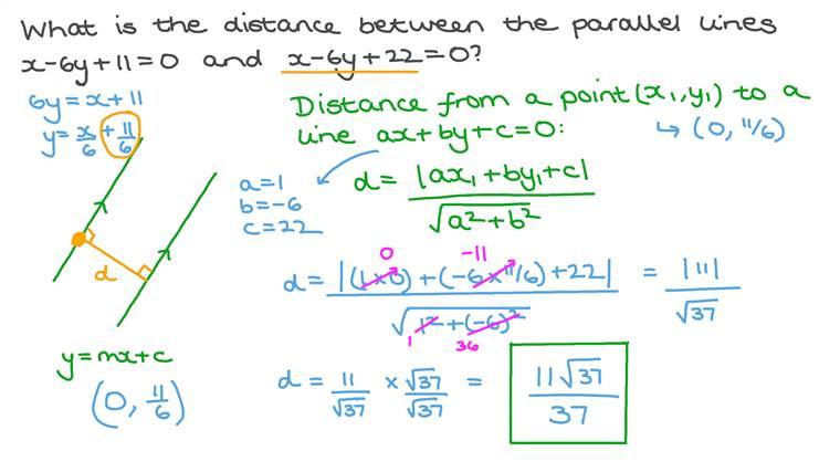 Déterminer la distance entre deux droites parallèles