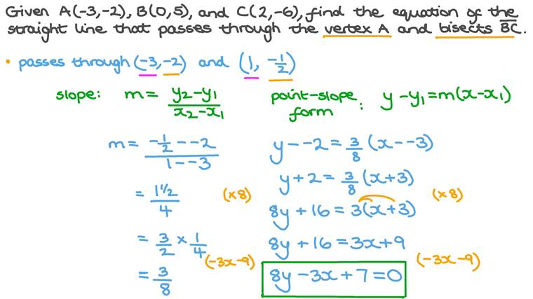 Finding the Equation of a Straight Line given the Points It Passes Through