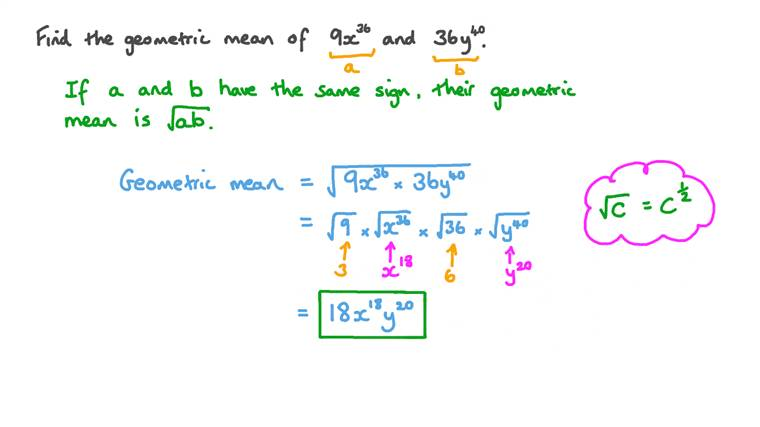 Finding Geometric Mean of Two Algebraic Expressions