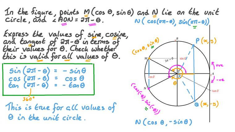 Using the Unit Circle to Express the Values of Sine, Cosine, and Tangent for 2𝜋 − 𝑥 in Terms of Their Values for 𝑥, Where 𝑥 Is Any Real Number