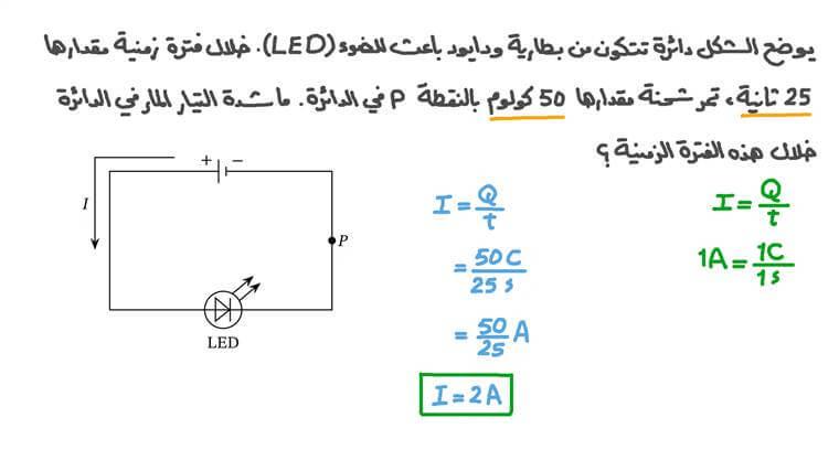 إيجاد شدة التيار عبر نقطة في دائرة كهربية