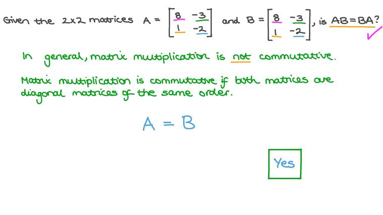 Determining Whether Matrix Multiplication Can Be Commutative Under Special Circumstances