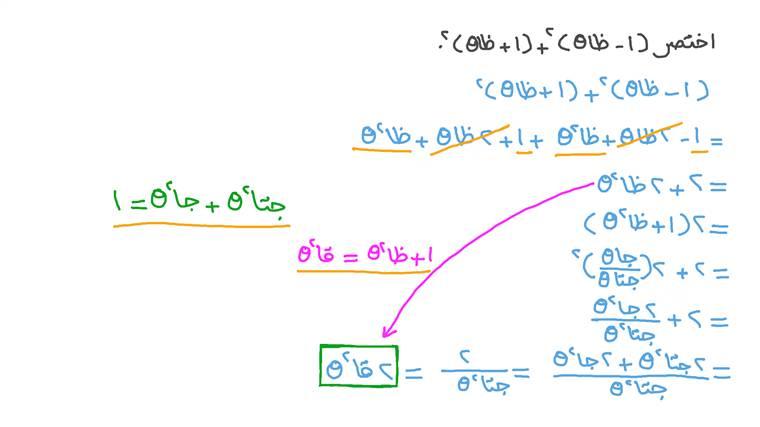 تبسيط المقادير المثلثية باستخدام متطابقات فيثاغورس