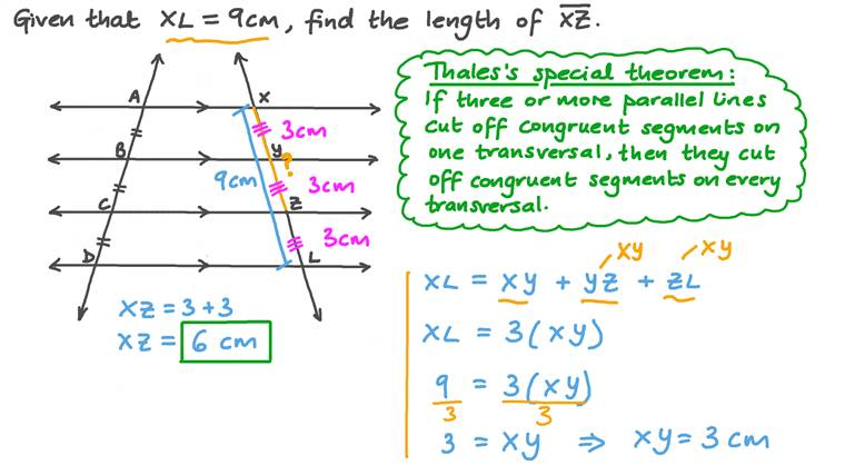 Finding the Lengths of Proportional Line Segments between Parallel Lines