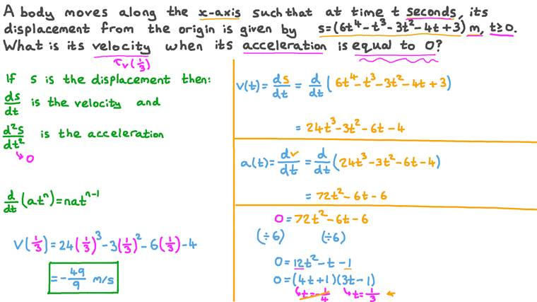 Finding the Velocity When the Acceleration Is Uniform and given the Displacement Expression