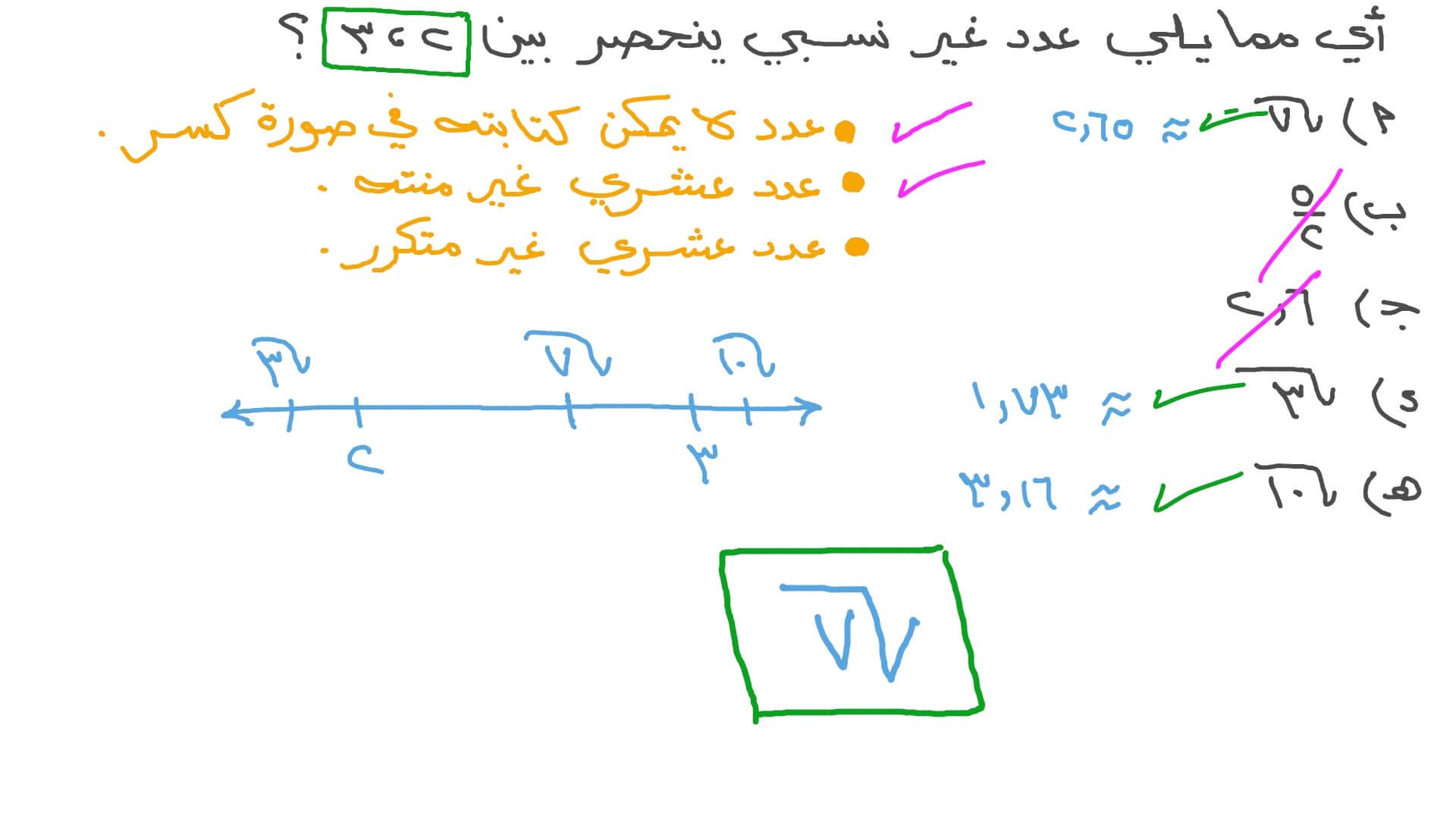 فيديو السؤال تحديد العدد غير النسبي الذي يقع بين عددين معطيين نجوى