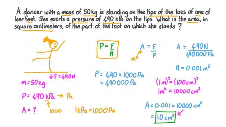 Calcul de la surface sur laquelle une pression est exercée