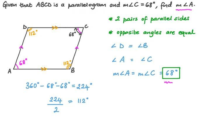 Finding the Measure of an Angle in a Parallelogram given the Opposite Angle's Measure