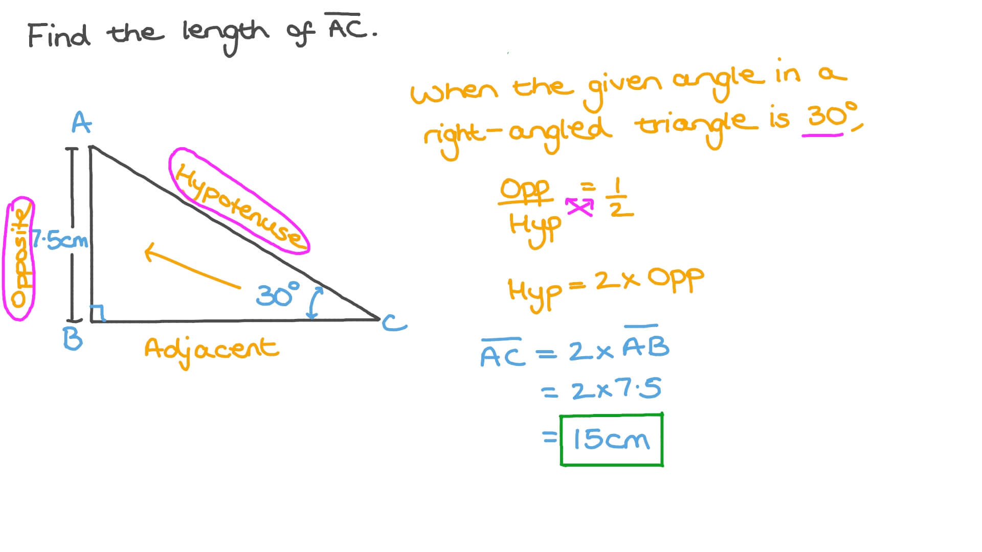 Question Video Finding The Length Of The Hypotenuse In A Right Angled Triangle Using Right Angled Triangle Trigonometry Nagwa