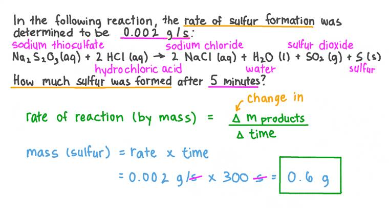 Calculer la masse totale de produit formé en fonction de sa vitesse de formation et du temps total